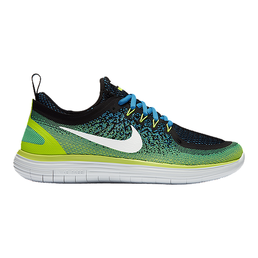 315fff7a30bc0 Nike Men s Free RN Distance 2 Running Shoes - Green Blue Black ...