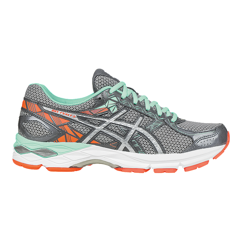 3a2baf502d5f ASICS Women s Gel Exalt 3 Running Shoes - Silver Grey Mint Green Orange