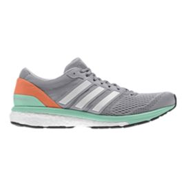 adidas Women's Adizero Boston 6 Running Shoes - Grey/Mint Green/Orange