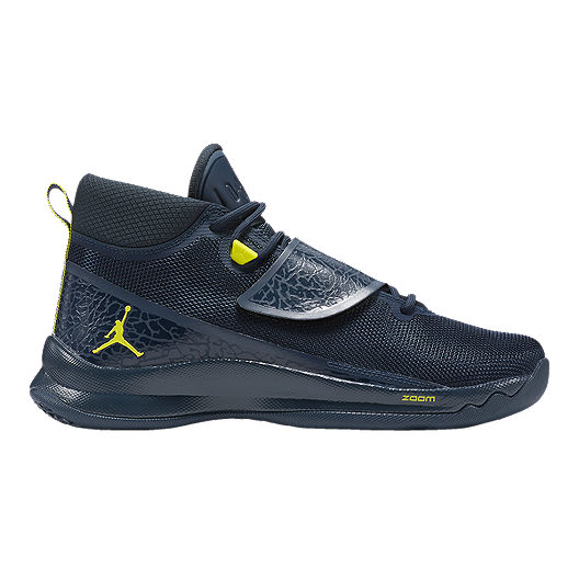 3de265b27594 Nike Men s Jordan Super.Fly 5 PO Basketball Shoes - Navy Lime Green ...