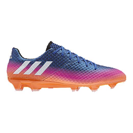 f9c25d1b9 ... silver metallic black shock blue 502cd 0324b  authentic adidas mens  messi 16.1 fg outdoor soccer cleats blue pink orange 30573 6cd34