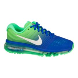 Nike Kids' Air Max 2017 Grade School Running Shoes - Blue/White/Green