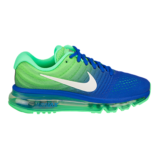 Nike Kids' Air Max 2017 Grade School Running Shoes BlueWhiteGreen
