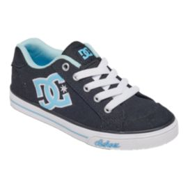 DC Girls' Chelsea TX Grade School Skate Shoes - Black/White/Blue