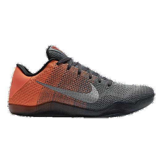 8e807ccf3d05 Nike Men s Kobe XI Elite Low Basketball Shoes - Grey Orange Knit ...