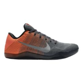 Nike Men's Kobe XI Elite Low Basketball Shoes - Grey/Orange Knit