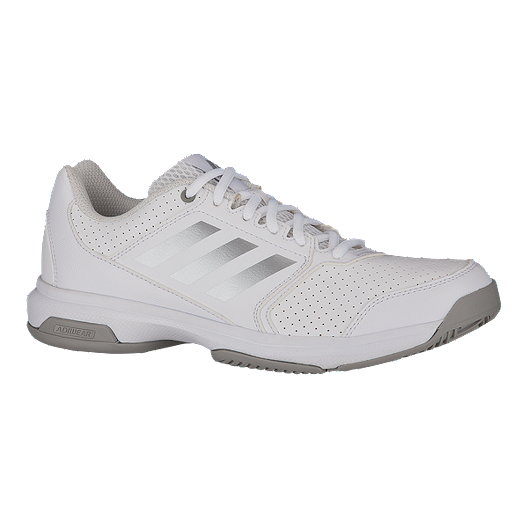 adidas Women s Adizero Attack Tennis Shoes - White Silver  4b8b7692c