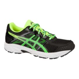 ASICS Kids' Gel Contend 4 Grade School Running Shoes - Black/Yellow/Green