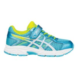 ASICS Girls' Pre-Contend 4 Preschool Running Shoes - Aqua/White/Yellow