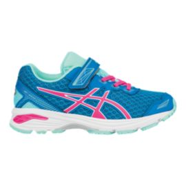 ASICS Girls' GT-1000 5 Preschool Running Shoes - Blue/Pink/Aqua