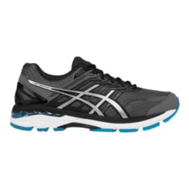 ASICS Men's GT-2000 5 2E Wide Width Running Shoes - Charcoal Grey/Black/Blue