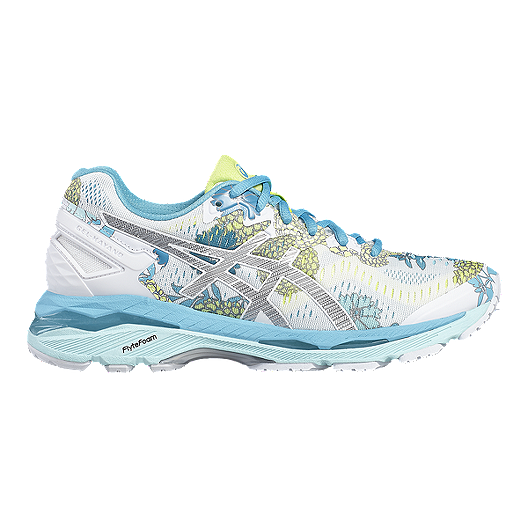 f342a4d628 ASICS Women s Gel Kayano 23 Running Shoes - White Blue Floral Pattern