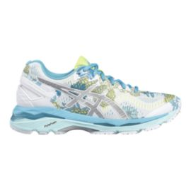 ASICS Women's Gel Kayano 23 Running Shoes - White/Blue Floral Pattern
