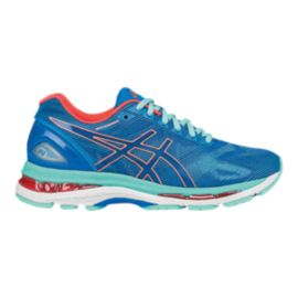 ASICS Women's Gel Nimbus 19 D Wide Width Running Shoes - Diva Blue/Light Blue/Orange