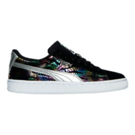 PUMA Girls' Suede Sportlux Grade School Casual Shoes - Black/Silver