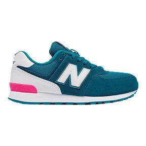 5913a727b274b ... New Balance Girls  574 Grade School Casual Shoes - Blue White ...