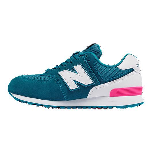 New Balance Girls' 574 Grade School Casual Shoes BlueWhite