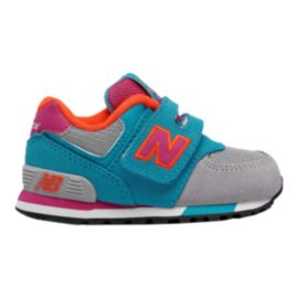 New Balance Toddler Girls' 574 Running Shoes - Grey/Teal