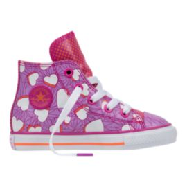Converse Toddler Girls' All Star High Casual Shoes - Magenta/Hearts