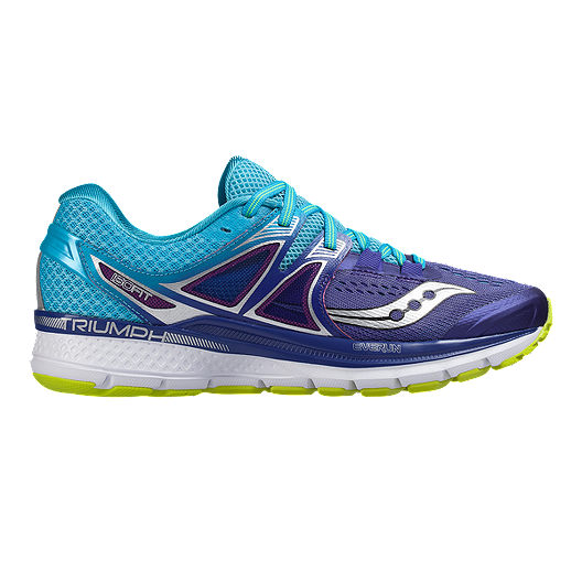 c3d4f8a9 Saucony Women's Triumph ISO 3 Running Shoes - Purple/Blue/Lime Green