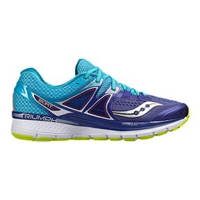 4dba451e494c Saucony Women s Triumph ISO 3 Wide Width Running Shoes - Purple Blue Lime  Green