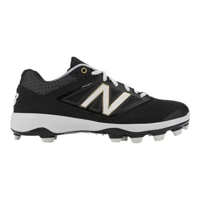 New Balance Men's PM4040v3 TPU 2E Wide Width Low Baseball Cleats - Black/White/Gold