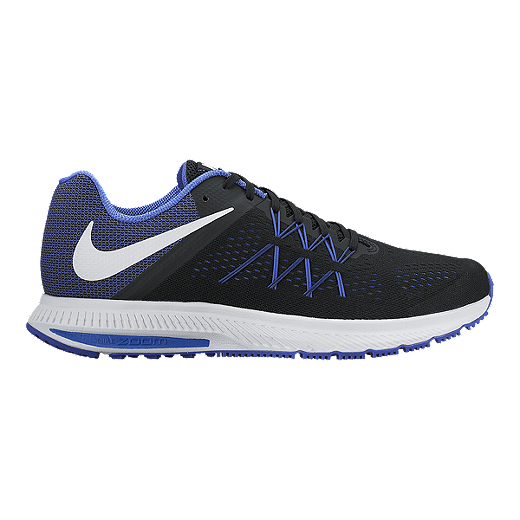 new style 822b3 eac26 Nike Men's Air Zoom Winflo Running Shoes - Black/Blue/White