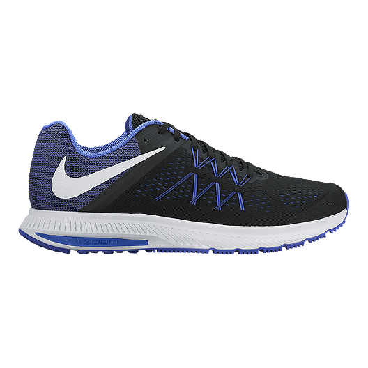 new style 3337b e4f97 Nike Men's Air Zoom Winflo Running Shoes - Black/Blue/White
