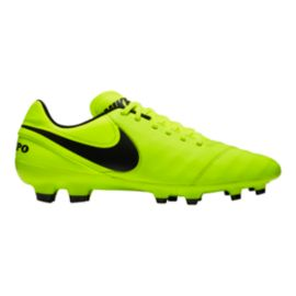 Nike Men's Tiempo Genio II Leather FG Outdoor Soccer Cleats - Yellow/Black