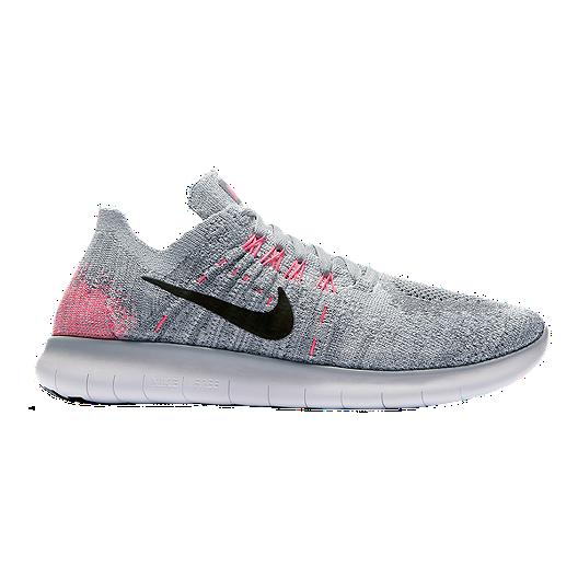 cheap for discount 29bce 867e0 Nike Girls  Free RN FlyKnit Grade School Running Shoes - Grey Pink Black    Sport Chek