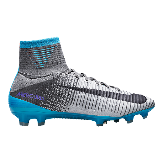 65bccac0152 Nike Women s Mercurial Superfly V FG Outdoor Soccer Cleats -  Grey Blue Black