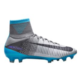 Nike Women's Mercurial Superfly V FG Outdoor Soccer Cleats - Grey/Blue/Black