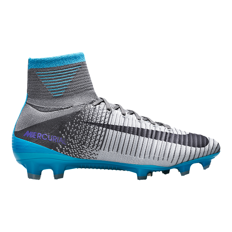 9e14ce000 Nike Women s Mercurial Superfly V FG Outdoor Soccer Cleats - Grey Blue Black