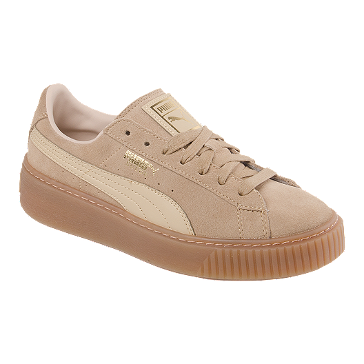 de914838521 PUMA Women s Suede Platform (Core) Shoes - Oat Gum