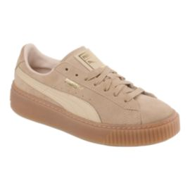 PUMA Women's Suede Platform (Core) Shoes - Oat/Gum