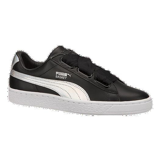 reputable site a9ff5 06054 PUMA Women's Basket Heart Shoes - Black/White | Sport Chek