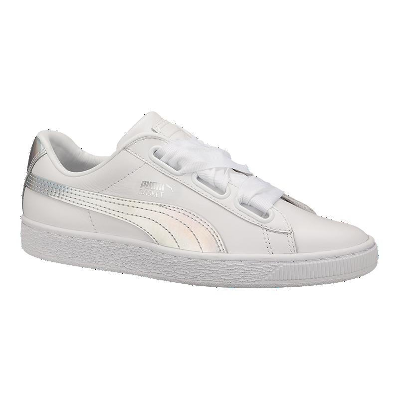 73d26187ba9a35 PUMA Women s Basket Heart Shoes - White Black