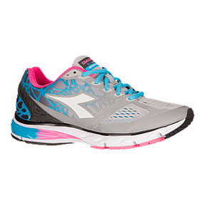 Diadora Women's Mythos BluShield Running Shoes - Grey/Blue/Pink