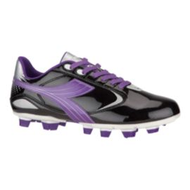Diadora Women's Virus FG Outdoor Soccer Cleats - Black/Purple/Silver