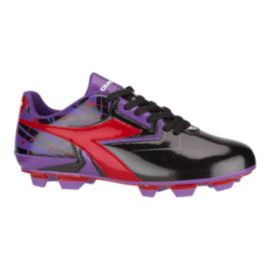 Diadora Girls' Nebula FG Outdoor Soccer Cleats - Black/Purple/Red