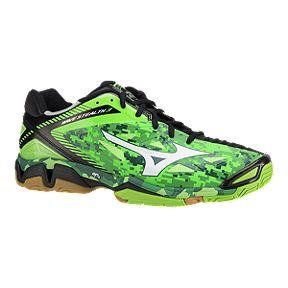 Mizuno Men S Wave Stealth 3 Indoor Court Shoes Green Print Black Gum