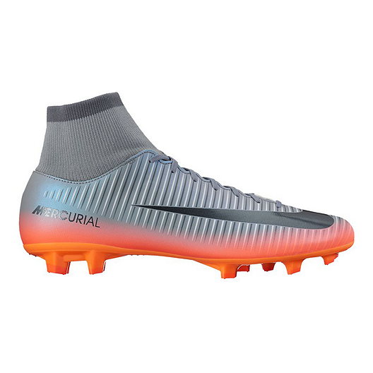 95b6474d3c5 Nike Men s Mercurial Victory VI CR7 Dynamic Fit FG Outdoor Soccer Cleats -  Grey Silver Orange