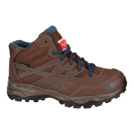 The North Face Kids' HedgeHog Hiker Mid Waterproof Hiking Shoes - Brown/Blue