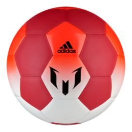 adidas Messi Size 3 Soccer Ball - White/Red