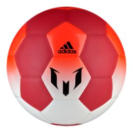 adidas Q1 Messi Size 5 Soccer Ball - White/Red