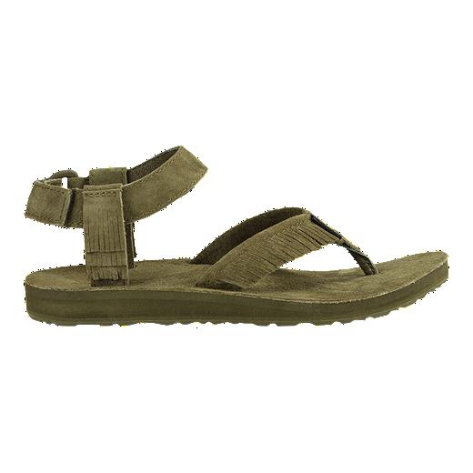 a01ee20adda1ec Teva Women's Original Universal Premier Leather Fringe Sandals - Dark Olive  | Sport Chek