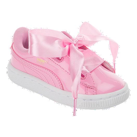hot sale online 8cb97 1f9ba PUMA Toddler Girls' Basket Heart Patent Running Shoes - Pink ...