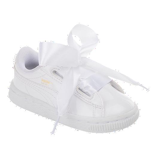 size 40 f7bca bf9ba PUMA Toddler Girls' Basket Heart Patent Running Shoes ...