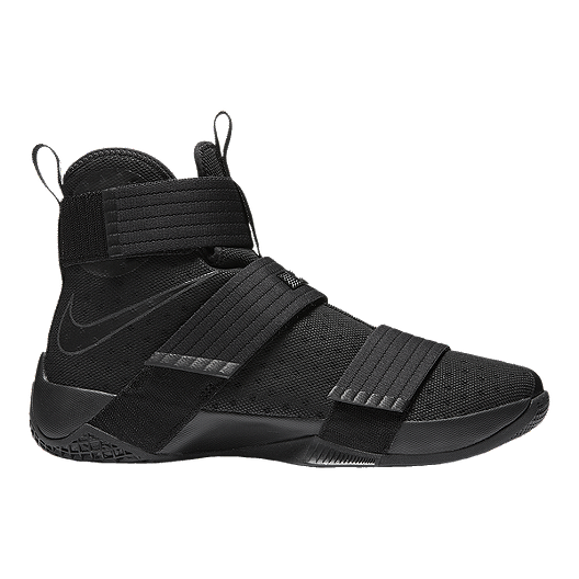 098be20636731 Nike LeBron Soldier 10 Triple Black Men s Basketball Shoes