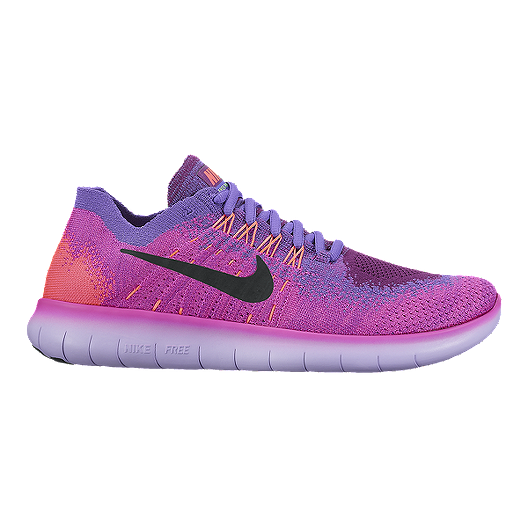 237621b850f44 Nike Women s Free RN FlyKnit 2017 Running Shoes - Pink Purple Orange ...